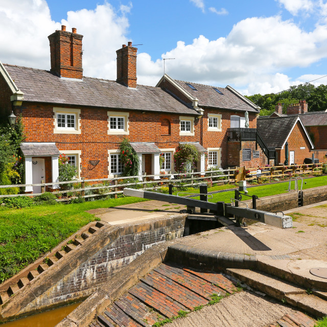 """""""Tyrley Wharf and locks, on the Staffordshire and Shropshire bord"""" stock image"""