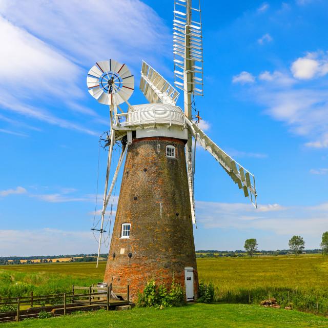 """""""Hardley Drainage windmill, Hardley Marshes, Norfolk Broads, Norf"""" stock image"""