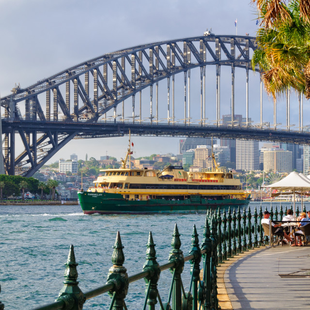 """Harbour Bridge and a ferry boat - Sydney"" stock image"