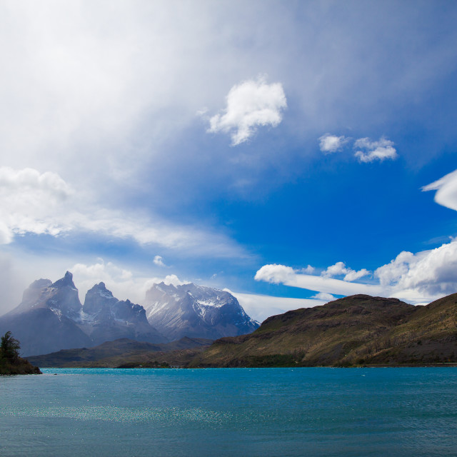 """Clouds Over Nordenskjöld Lake with Los Cuernos in the Distance, Chile"" stock image"
