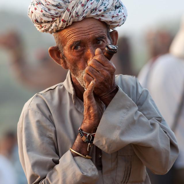 """Hashish Smoker, Pushkar Camel Fair, Rajasthan, India"" stock image"