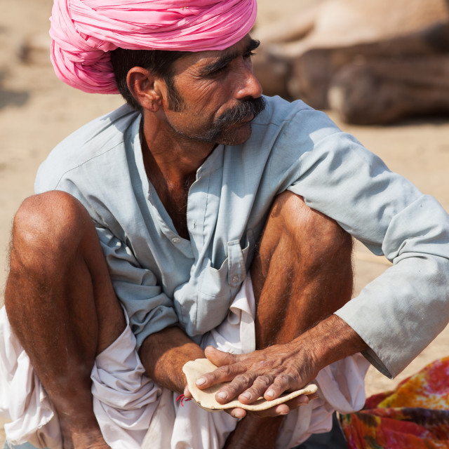 """Making Chapati Bread, Pushkar Camel Fair, Rajasthan, India"" stock image"