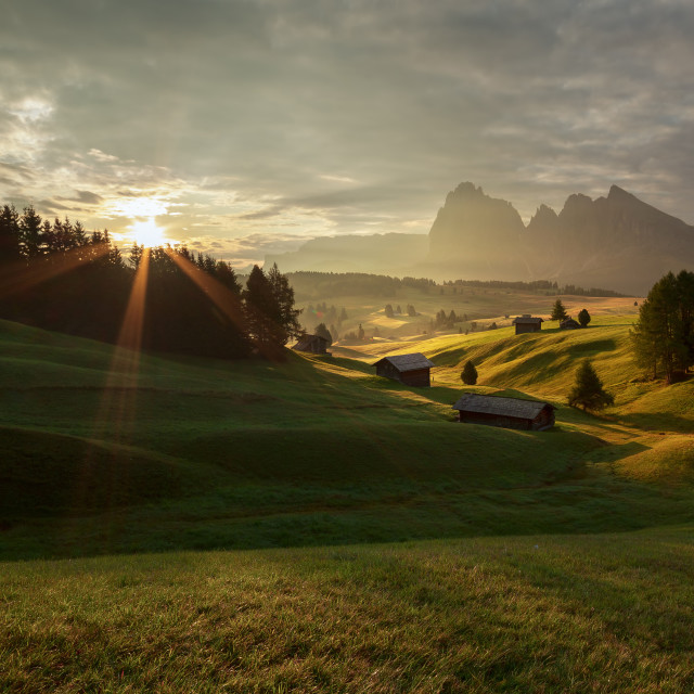 """Sunrise at Alpe di Siusi"" stock image"