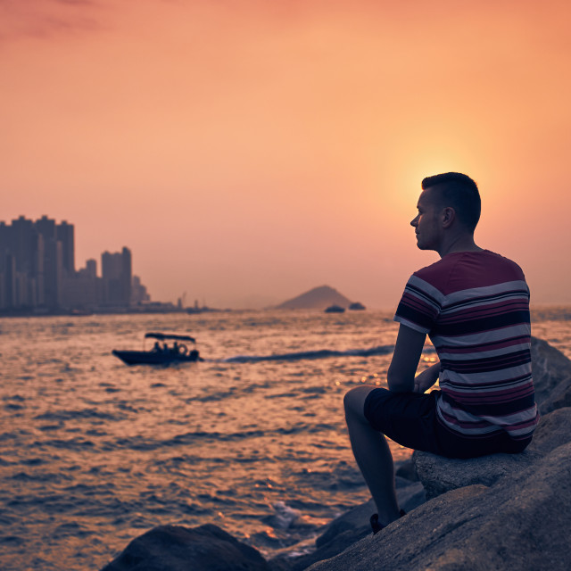 """Relaxation at sunset"" stock image"
