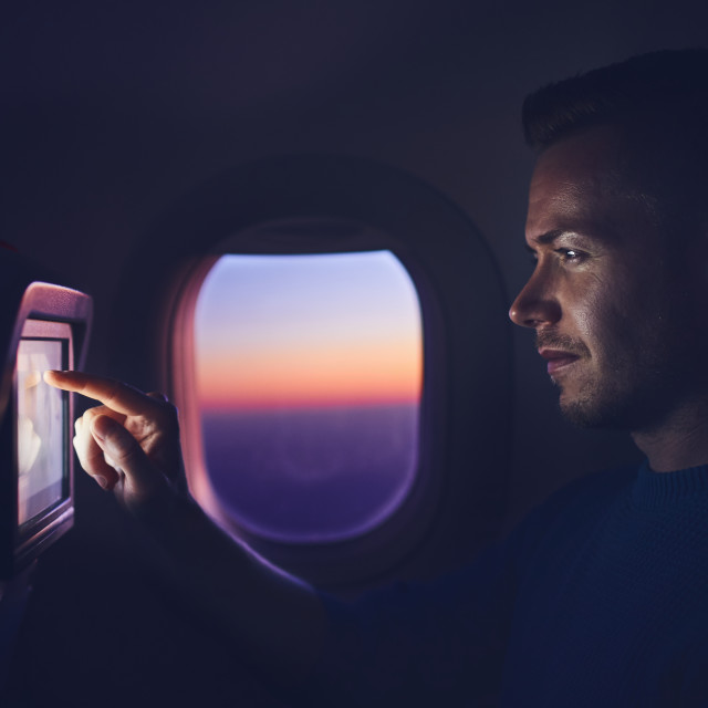 """Man travel by airplane"" stock image"