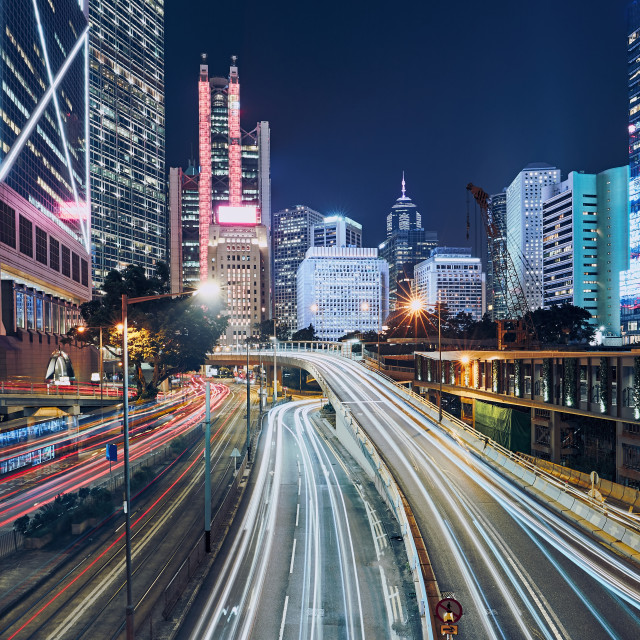 """Busy traffic in modern city"" stock image"