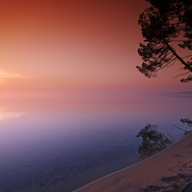 """Biscarrosse lake sunrise"" stock image"
