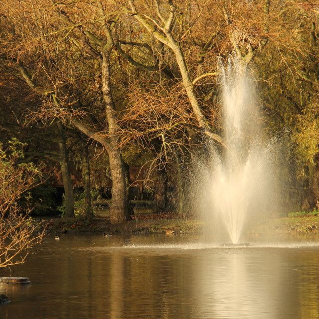 """""""Locke Park, Redcar's boating lake and fountain in Autumn."""" stock image"""