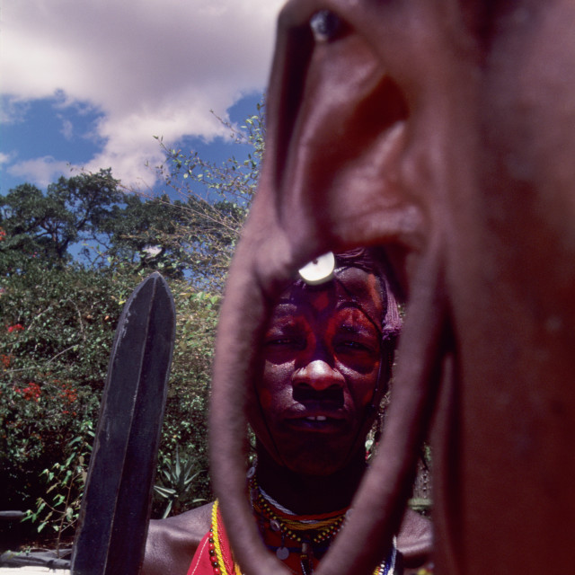 """""""Masai tribesmen with spear"""" stock image"""