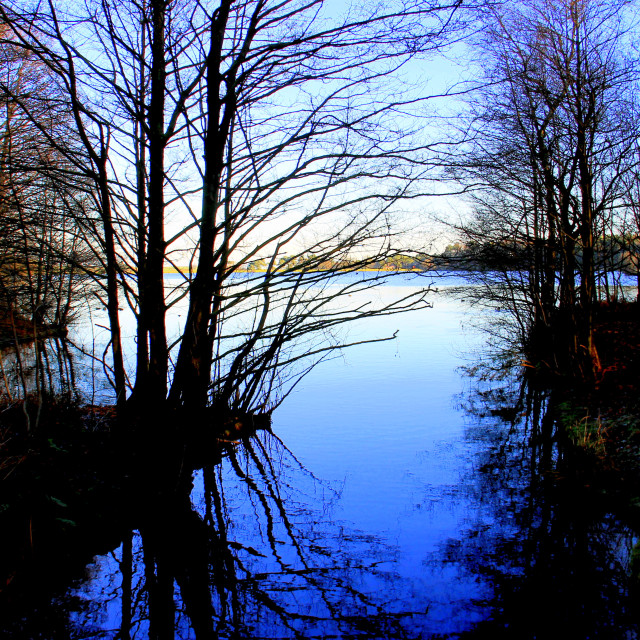 """Winter evening at Lockwood Beck lake."" stock image"