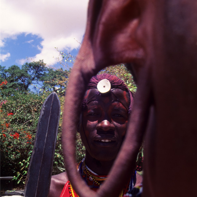 """Masai warrior in Masai Mara Game Reserve, Kenya"" stock image"
