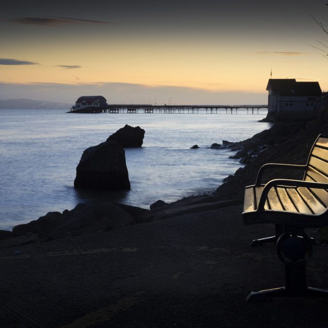 """A bench with a view at Mumbles"" stock image"
