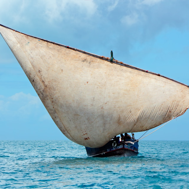 """""""Wooden sailboat on the open sea"""" stock image"""