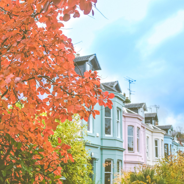 """""""Colorful Terrace Street In A British City"""" stock image"""