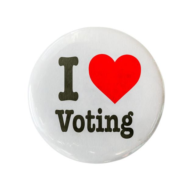"""I Love Voting Badge"" stock image"