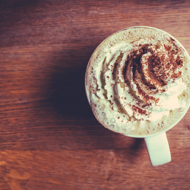 """""""Pumpkin Spice Latte In A Cafe"""" stock image"""