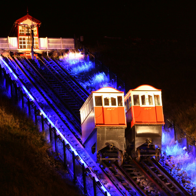 """Saltburn cliff-lift by night."" stock image"
