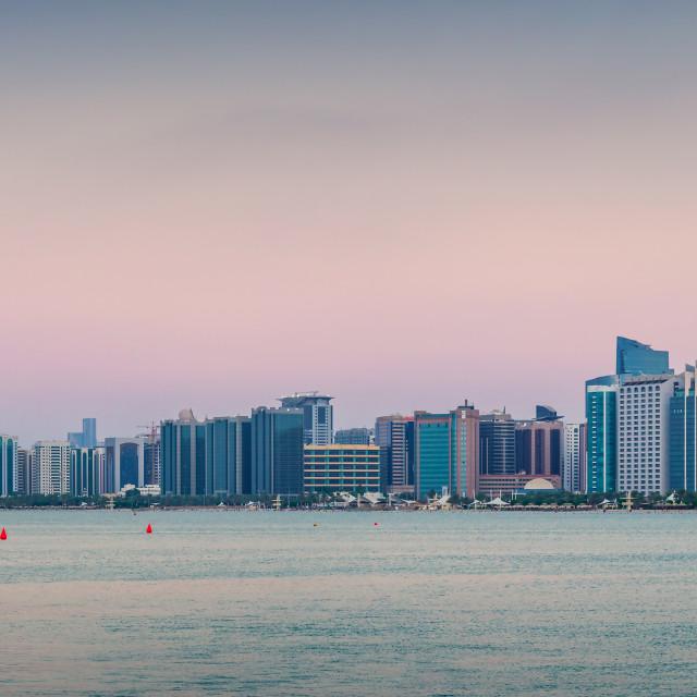 """Abu Dhabi downtown skyline full panoramic view"" stock image"