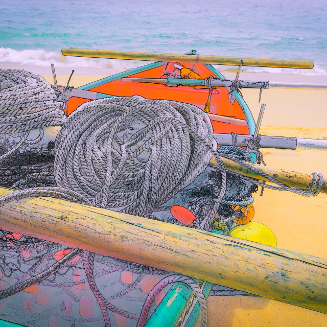 """""""Waiting for the shoal to arrive. Rigged and ready to put to sea."""" stock image"""