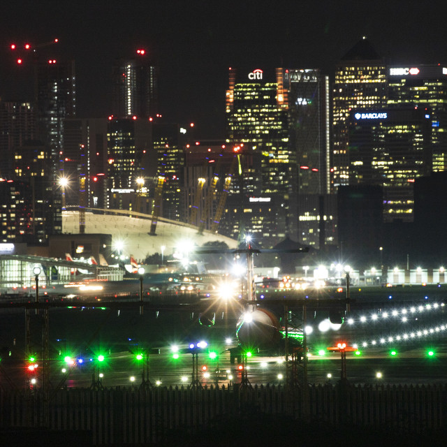"""London City Airport and Canary Wharf"" stock image"