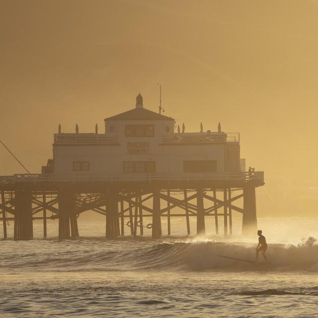 """""""Sunrise surfer at Malibu"""" stock image"""