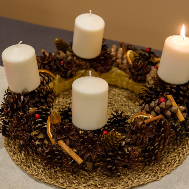 """Composition of Advent wreath, Advent crown."" stock image"