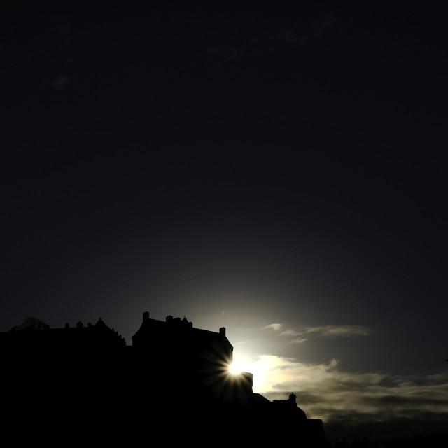 """Sunset on Edinburgh Castle"" stock image"