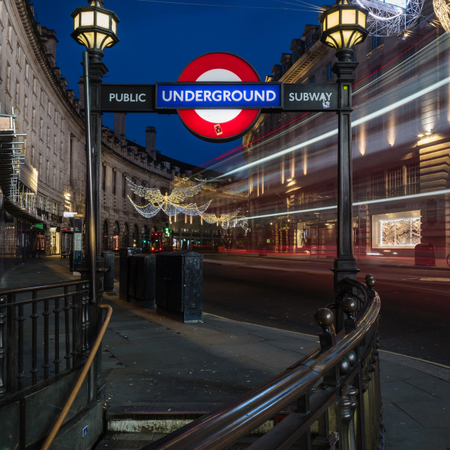 """Trails Up Regent Street."" stock image"