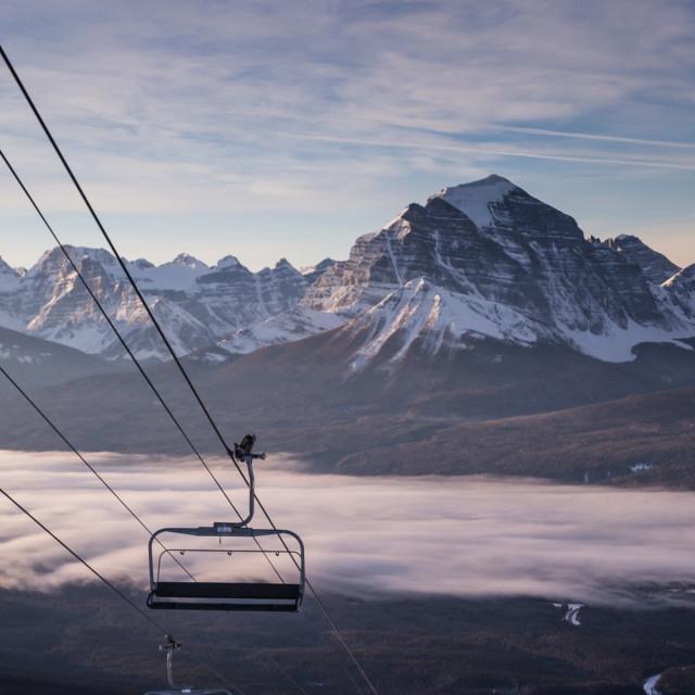 """Lake Louise Chairlift Sunrise"" stock image"