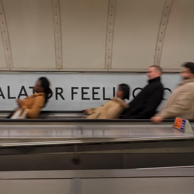 """People on the Escalator"" stock image"