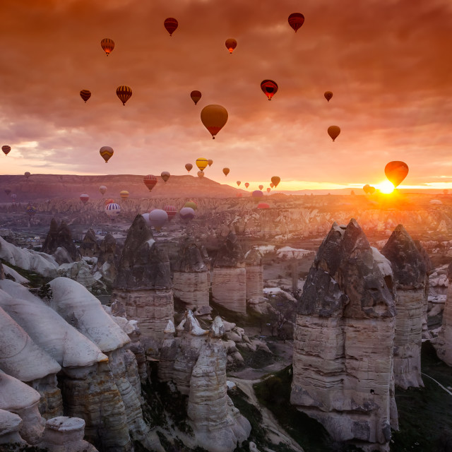 """Hot air balloons at sunrise in Cappadocia, Turkey"" stock image"