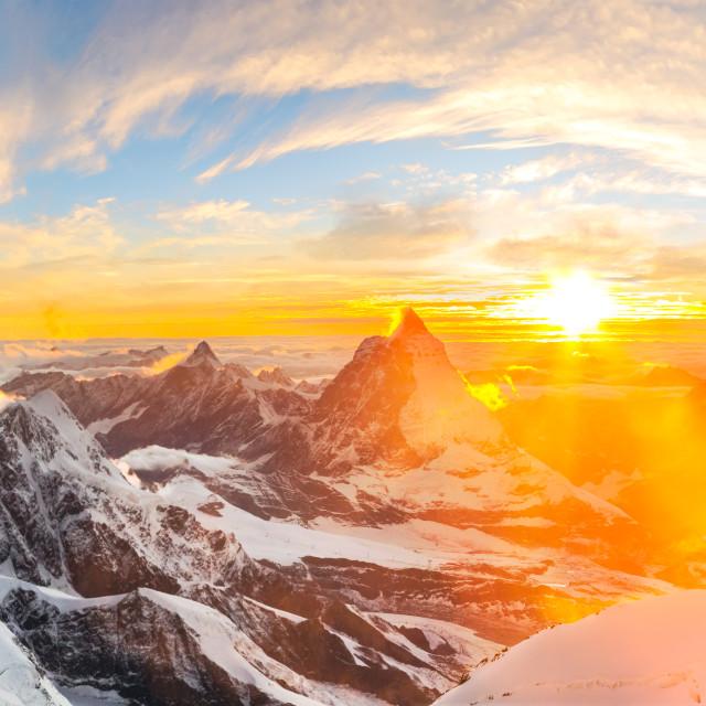 """Sun setting close to Matterhorn"" stock image"