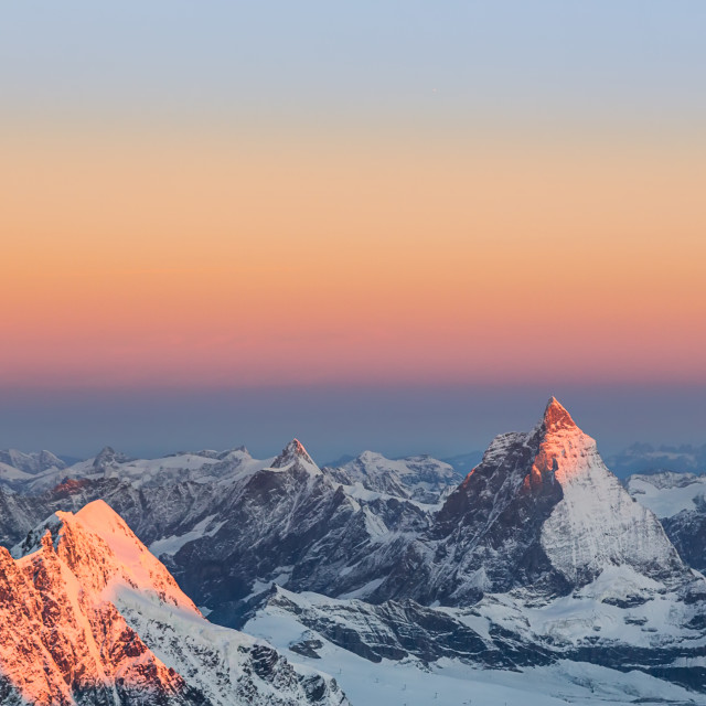 """Materhorn in summer sunset"" stock image"