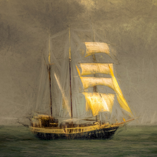 """""""Sailing Ship In A Storm"""" stock image"""
