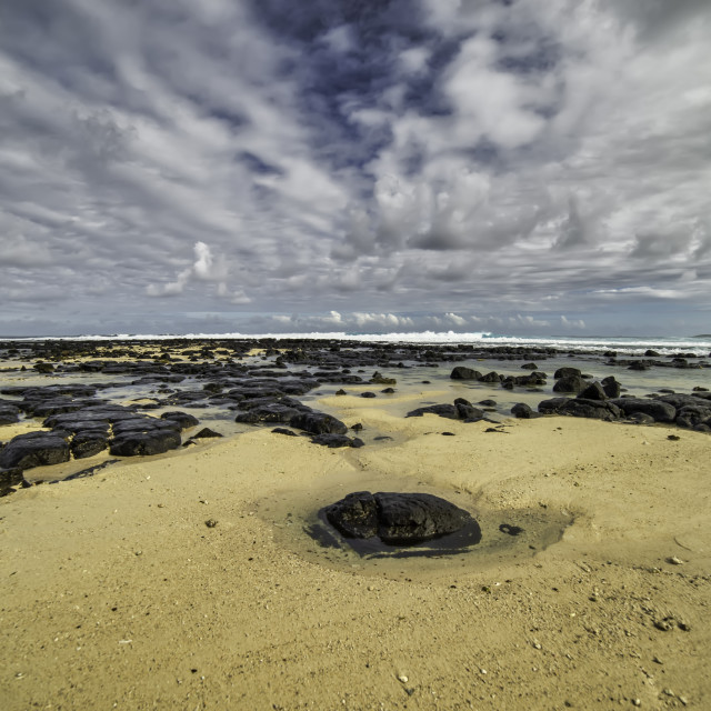 """""""A SOLITARY ROCK (MAURITIUS)"""" stock image"""
