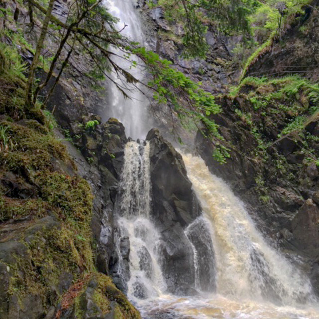 """""""Waterfall in Scottish Highlands"""" stock image"""
