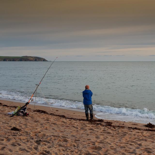 """Fishing in Cornwall"" stock image"