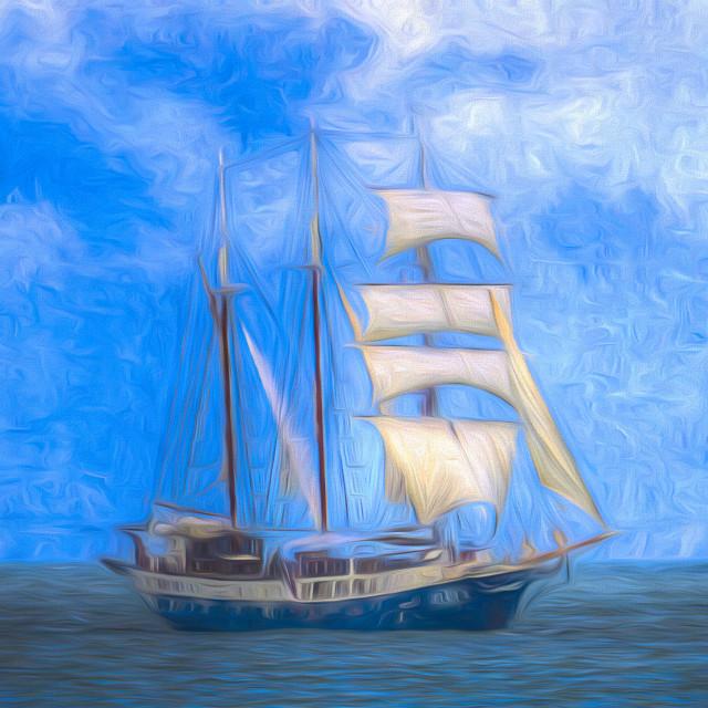 """Atlantis Sailing Ship Art"" stock image"