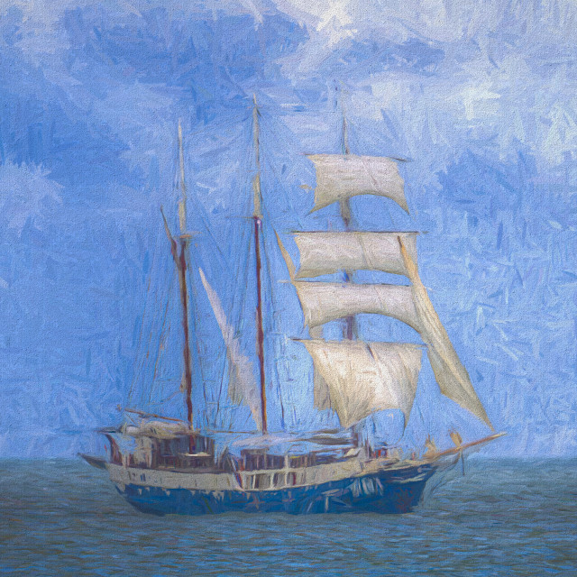 """""""Sailing Ship Palette And Oil"""" stock image"""