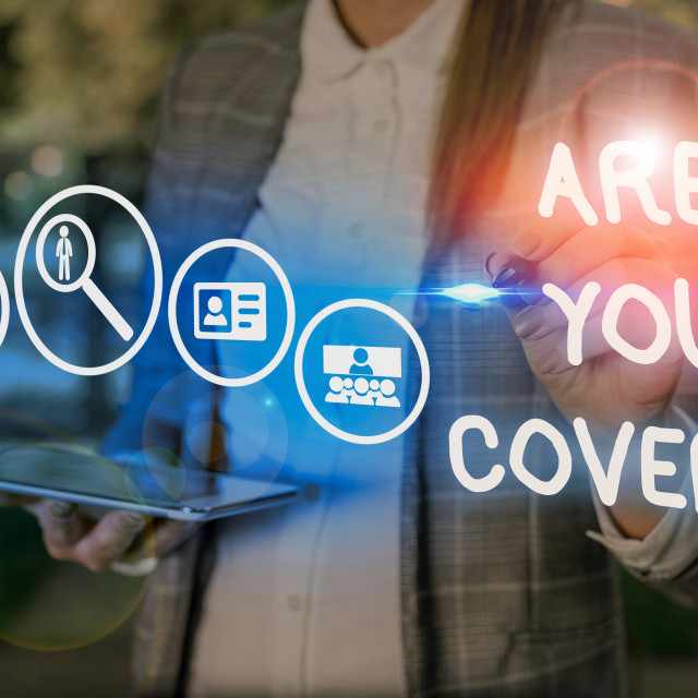 """""""Conceptual hand writing showing Are You Covered. Business photo showcasing..."""" stock image"""
