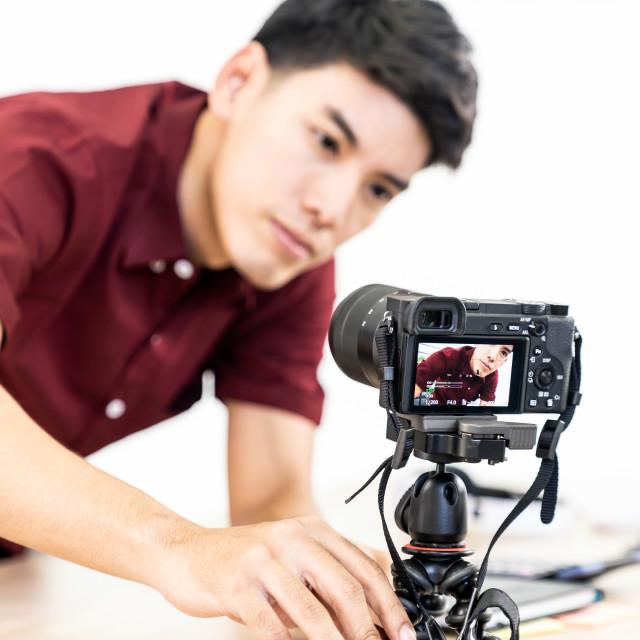 """Vlogger blogger set up live camera"" stock image"