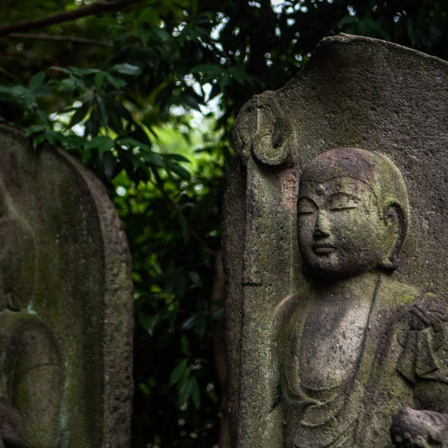 """Male and Female Buddhist Statues in Japan"" stock image"