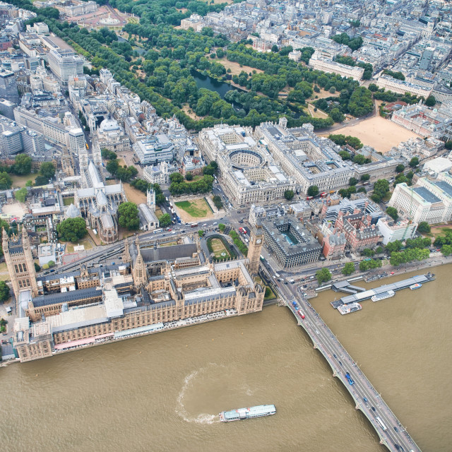 """""""Aerial view of Westminster Palace, Westminster Abbey, Westminster Bridge over..."""" stock image"""