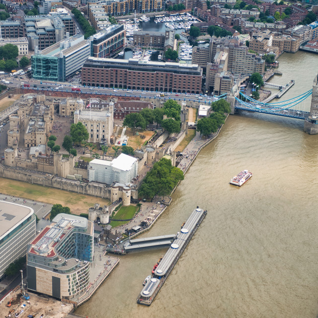 """""""Aerial view of Tower Bridge, River Thames andTower of London from a high..."""" stock image"""
