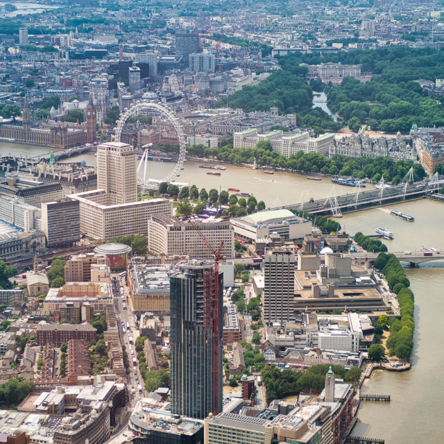 """""""Aerial view of Westminster Palace, Ferris Wheel and city bridges over River..."""" stock image"""