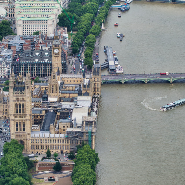 """""""Aerial view of Westminster Palace, Westminster Bridge over River Thames from..."""" stock image"""