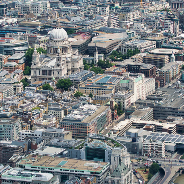 """""""Aerial view of St Paul Cathedral and city skyline from a high vantage point"""" stock image"""