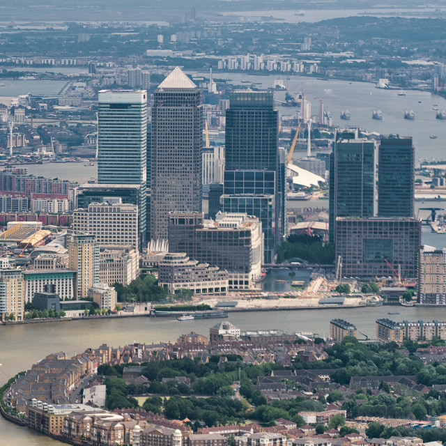 """""""Aerial view of Canary Wharf and city skyline from a high vantage point"""" stock image"""