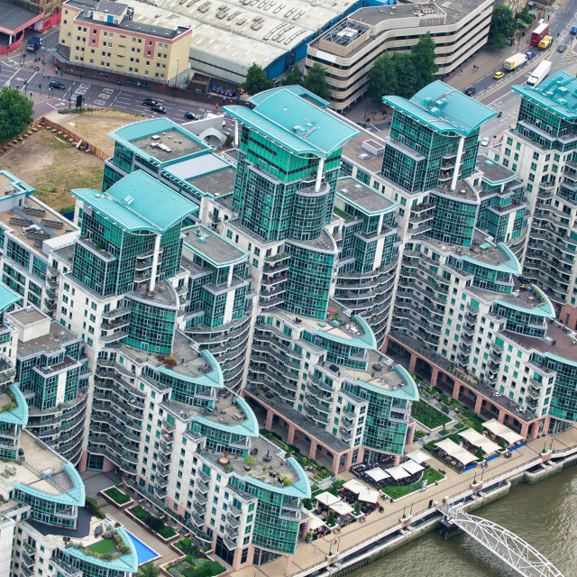 """""""Aerial view of London buildings near Vauxhall Station from a high vantage point"""" stock image"""