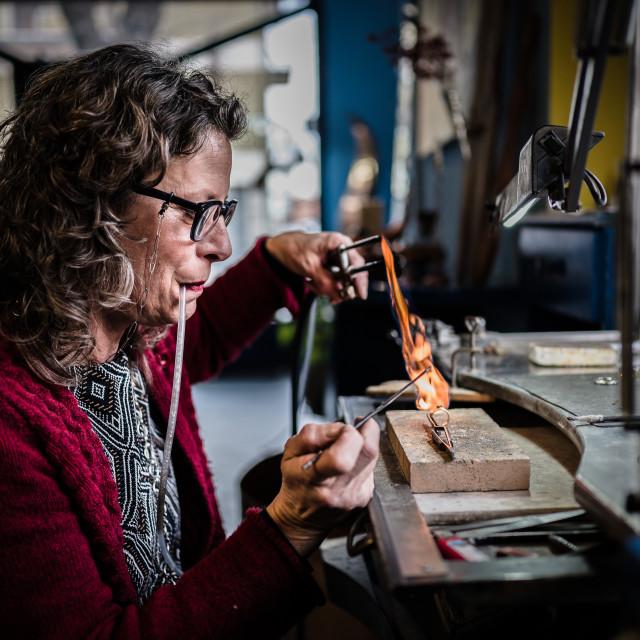 """The Goldsmith - Amiata Arts & Crafts"" stock image"